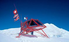 Dropped into place by helicoptor, Richard Horden's lightweight aluminium alpine hut is powered by sun and wind