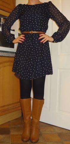 navy pattern dress, brown belt, navy tights, tall brown boots