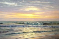 """Brett  Weaver - """"The Hour of Reflection"""" Original oil, 40 x 60 in. Can you believe this beautiful piece was painted by an artist who is self taught!? A winter coastal scene would offer a peaceful, yet strong presence for your home or office. At Hagan Fine Art"""