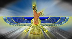 Faravahar Persian Emblem Faravahar is an ancient Zoroastrian icon Faravahar is holding the Ring of Power (granted to Shahanshahs by Ahuramazda) in one hand and Persian Aryan Salutes with the other hand.