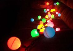 Christmas Lights. Ping Pong LED lights: Has it ever occurred to you that you can turn Ping Pong balls into multi-color fairy lights? Follow these instructables and you will create one! This would look amazing strung around my front porch!