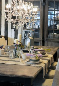 Country chic tablescape with burlap runners & lavender napkins.