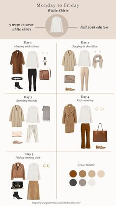 Styling white shirts has never been any easier in this season. Here are 5 ways to style white shirts for fall Fall Outfits Capsule Wardrobe 2018 Fashion Trend Items Neutral Tones Nude tones Minimalism Style Capsule Wardrobe 2018, Capsule Outfits, Fashion Capsule, Mode Outfits, Fall Outfits, Fashion Outfits, Fashion Trends, White Outfits, French Capsule Wardrobe