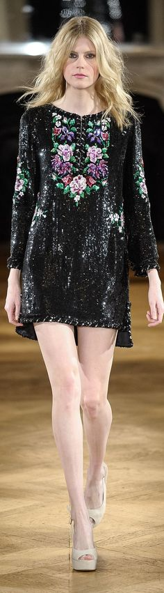 Yulia Yanina ~ Couture Black Sequin Mini Dress w Floral Detail 2015