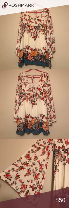c9fea719bb31 FREE PEOPLE DRESS Floral free people dress with tie in back. Only worn 1x!