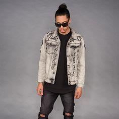 New Denim Jacket drops coming this week  ___ Graffiti Distressed Denim Jacket in dark grey  Shop Seizeanddesist.com  ___  #seizeanddesist #fall #mens #womens #new #fashion #streetwear #jacket #denim #jean #black #grey #swag #la #nyc #london