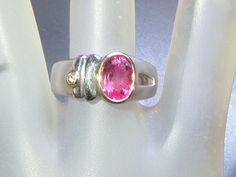 Bezel 1.89ct Rubellite Diamond Band Ring Sterling Silver & 18kt Gold by Gemsbygigialonia on Etsy