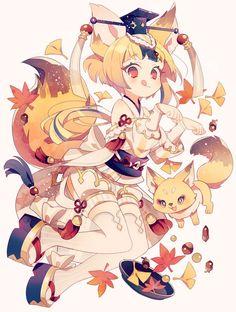 Anime, manga, and video game fan-art artworks from Pixiv (ピクシブ) — a Japanese online community for artists. Art Kawaii, Manga Kawaii, Kawaii Anime Girl, Anime Art Girl, Anime Girls, Anime Chibi, Cartoon Kunst, Cartoon Art, Kawaii Drawings