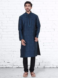Raw Silk Blue Kurta Suit