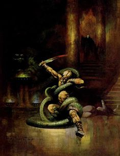 Frank Frazetta Green Death oil painting for sale; Select your favorite Frank Frazetta Green Death painting on canvas and frame at discount price. Frank Frazetta, Image Comics, Brooklyn, Robert E Howard, Bd Art, Conan The Barbarian, Barbarian King, Sword And Sorcery, Monsters