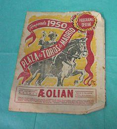 1950 Madrid Spain Bullfighting Program Matadors Bulls Fight Toros Vintage Paper