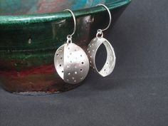 925 sterling silver geometricperforated dangle earrings by Juli711