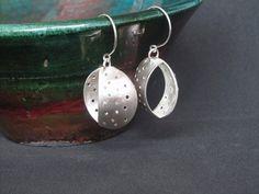 925 sterling silver geometricperforated dangle earrings by Juli711