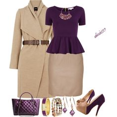 """""""Beige and Purple"""" by doris610 on Polyvore"""