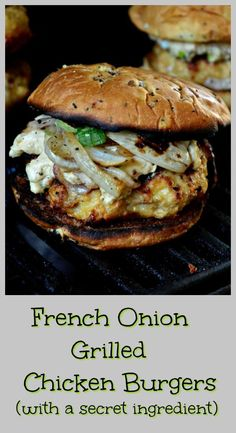French Onion Grilled Chicken Burgers – This Is How I Cook French Onion Grilled Chicken Burgers are made with lots of grilled onions and a cream cheese topping made with onion soup mix. These are the best chicken burgers ever! Grilled Chicken Burgers, Grilled Chicken Recipes, Grilled Meat, Teriyaki Chicken Burger Recipe, Onion Soup Burger Recipe, Ground Chicken Burgers, Chicken Sandwich Recipes, Ground Chicken Recipes, Turkey Burgers