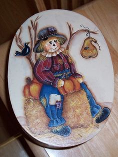 Painted on a Paper Mache Oval Box for a friend.  I love Scarecrows. LLove