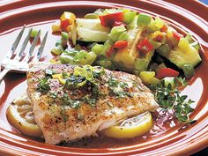 Lemon Red Snapper with Herbed Butter | Fish and shellfish are quick cooking, nutritious, and delicious when prepared simply. These 17 recipes offer shortcuts that don't skimp on taste.
