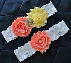 Wedding Garter, Bridal Garter Set - Lace Garter, Keepsake Garter, Toss Garter Included, Shabby Chiffon Rosette Coral Light Yellow