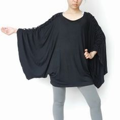 NEW Design  Plus size Blouse Unique Styling Poncho,Jersey Spandex In  Black.