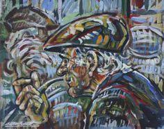 Man with Pipe by Stephen Bennett - original painting , acrylic on board Irish Landscape, Irish Art, Donegal, Figure Painting, Original Paintings, Art Gallery, The Originals, Board, Artist