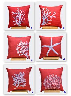 Starfish Decorative Pillow Cover, White Starfish Embroidery Red Orange Linen, Throw Pillow Cover 18 x Beach Pillow, Orange Pillow Case - Bedroom Design Ideas Orange Pillow Cases, Orange Pillows, Orange Fabric, Coral Orange, Blue Fabric, Yellow, Marine Style, Beach Room, Beach House Decor