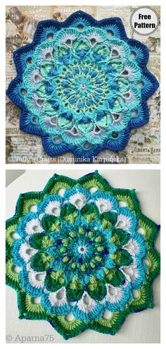 Peacock Feather Mandala Free Crochet Pattern These Colorful Crochet Mandala FREE Patterns are fun to make and have lots of uses.They are great projects no matter what your crochet skill level is. Free Mandala Crochet Patterns, Peacock Crochet, Crochet Feather, Mandala Yarn, Crochet Mandala Pattern, Crochet Motifs, Crochet Blanket Patterns, Knitting Patterns Free, Crochet Wall Art