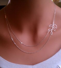 Branch double strand sterling silver necklace. Bridesmaids Gift. Bridal Shower / Party. Everyday Wear.