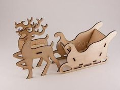 Rudolph & Santa's Sleigh Kit, laser cut model for christmas.  1/24th (half) scale.