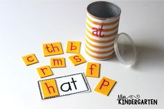 Miss Kindergarten: {word family cans}This is a great idea! I have some in my classroom but I use the letter magnetics and a cookie sheet for them to make their words. Miss Kindergarten, Kindergarten Language Arts, Kindergarten Centers, Kindergarten Literacy, Early Literacy, Word Family Activities, Literacy Activities, Literacy Stations, Literacy Centers