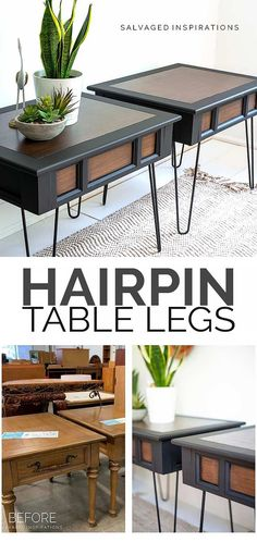 Ikea Dresser Hack, Side Table Makeover, Hairpin Table, Table Legs, Furniture Makeover, Hair Pins, Painted Furniture, Table Settings, Shabby Chic