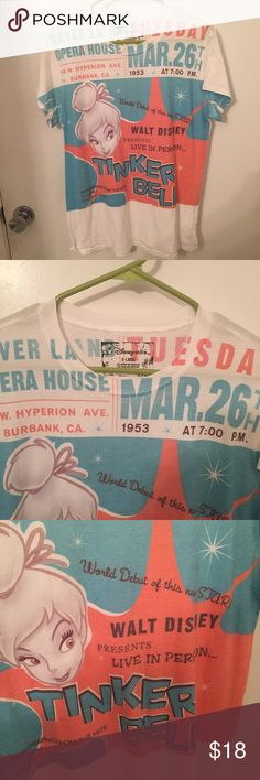 Disney store Tinker Bell Neverland opera house XL Adorable Disney Store Tinker Bell poster style collector r shirt size XL. Rare Disney Tops Tees - Short Sleeve