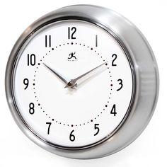 Retro clock in silver by Infinity Instruments. Silver almost matches any decor. #clock #decor #retro