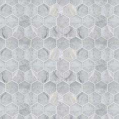 Dollshouse wallpaper - Hexagon marble tile / modern miniatures /1:12 scale / dollhouse