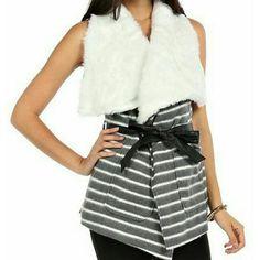 "AKIRA Striped Faux Fur Collared Vest Adorable vest has oversized fur collar, vegan leather tie belt and two front pockets. Length 31"" Waist 32"" AKIRA Jackets & Coats Vests"