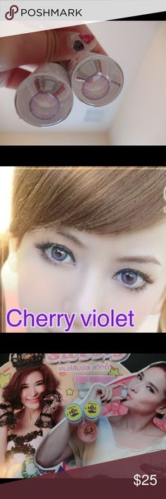 Contact lens cherry violet 0.00 100% New  brand Sweety plus + Color : violet eyes contact  1  pair Free contact case hello kitty  Made in Korea  Expiration date is 2021.04.24 Makeup Eyeshadow