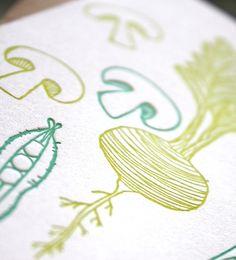 Veggie Cards Letterpress notecards by 1canoe2 on Etsy, $12.00
