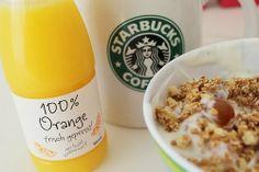 Organic Starbucks Breakfast Time, Best Breakfast, Healthy Snacks, Healthy Recipes, Muesli, Orange, Soul Food, Starbucks, Bottle