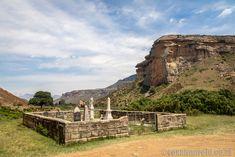 Sandstone mountain and graveyard at Golden Gate Highlands National Park Clarens