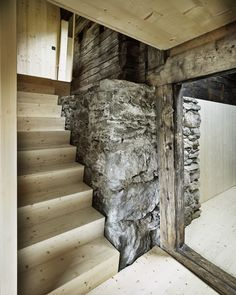 Oliver Christen - Renovation of a house from Sagerberg Photos © Valentin Jeck. Wood Stone, Christening, Stairs, Architecture, House, Home Decor, Aphasia, Homes, Cottage House