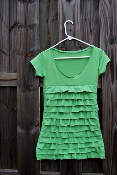 Ruffly Tshirt Tutorial  - step by step to make this from a regular tshirt.  So cute from Just Another Day in Paradise.