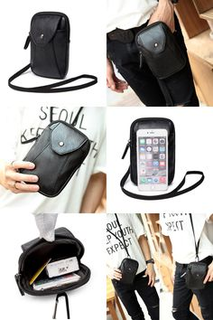 [Visit to Buy] New Men PU Leather Cell/Mobile Phone Cover Case Hip Belt Bum Purse Fanny Pack Waist Bag Mini Hook Pouch #Advertisement