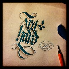 - Try Hard - parallel pen and pencil - theosone Calligraphy Words, Calligraphy Alphabet, Penmanship, Typography Letters, Typography Logo, Caligraphy, Graphic Design Typography, Lettering Design, Chicano Lettering