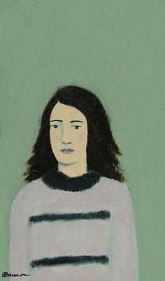 Sally - Original Little Portrait Painting by Elizabeth Bauman, 3 x 5 inches