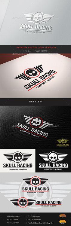 Skull Racing Logo Template Vector EPS, AI. Download here: http://graphicriver.net/item/skull-racing/11030234?ref=ksioks