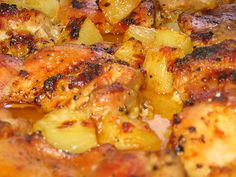 """2.5 lb Chicken Breast, 2 cups fresh Pineapple or drained canned pineapple, 1/2 cup pineapple juice, 1/2 cup low sodium soy sauce, 1Tbsp black pepper, 1/2 cup brown sugar. Place chicken on bottom of crock pot, place pineapples on chicken, mix juice/sauce/sugar/pepper together than pour on chicken. cook on low 6-8 hrs, or high for 4-6."" Very good! I served it with rice and veggies."
