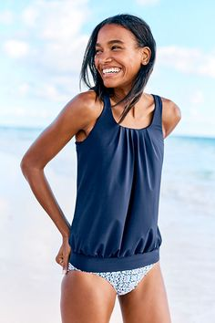 Women's Blouson Tankini Top | Our Beach Living® collection gives you more to mix. Pair together tops and bottoms, experiment with solids and prints to create a look that suits your style. Shop more Swim style at Lands' End.