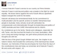 Statement by @JuliaGillard on the death of @MalcolmFraser12 (See also http://www.bloggerme.com.au/eulogy-death-malcolm-fraser-i-hated-him-learned-love-him