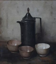Henk Bos (Dutch, 1901-1979) Still life with tin can and bowls, oil on canvas, 38,5 x 34cm.
