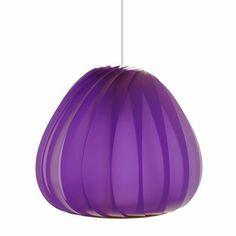 Suspension en lamelles de plastique violet de Tom Rossau chez Design-ikonik.com