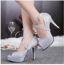 Sandalias de diamantes de imitación de novia de la boda crystal inferiores rojos tacones altos zapatos de fiesta mujeres bombas punta abierta envío gratis ALL10C(China (Mainland))